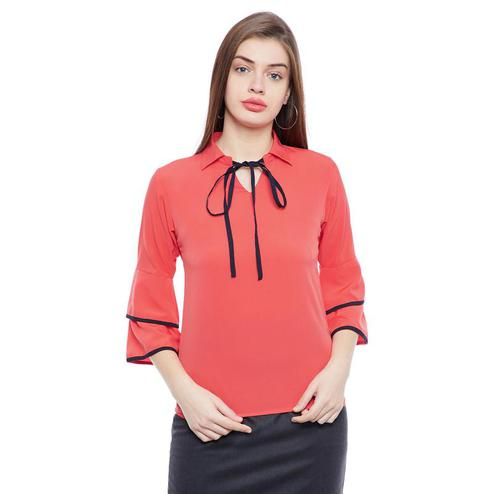 Aask - Red Colored Casual Wear tie up neck Crepe Top