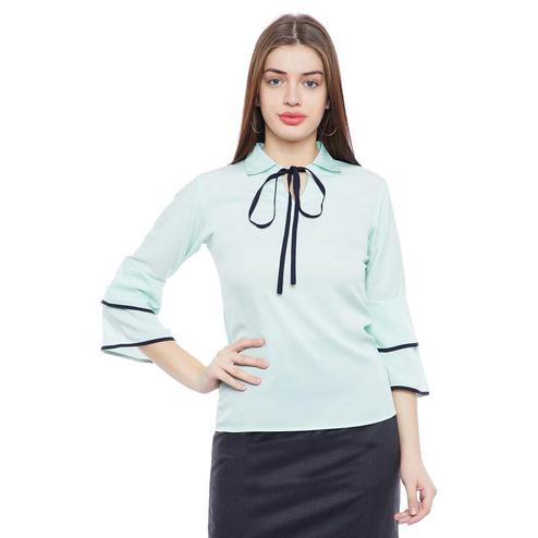 Aask - Sea Green Colored Casual Wear tie up neck Plain Crepe Top