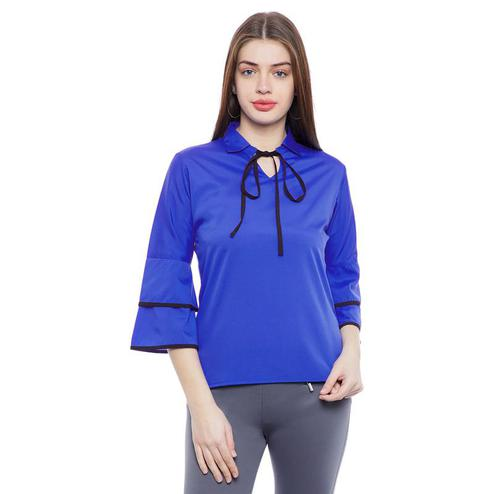 Aask - Blue Colored Casual Wear tie up neck Crepe Top