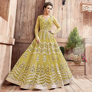 Ravishing Lemon Green Wedding Anarkali Dress Cum Classy Gown