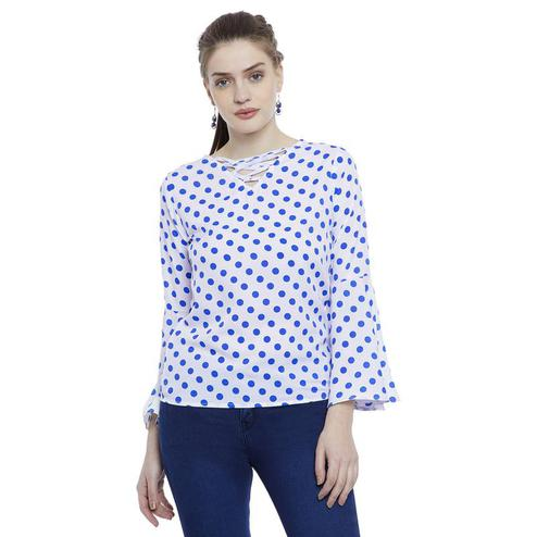 Aask - White-Blue Colored Casual Wear Polka Printed Crepe Top