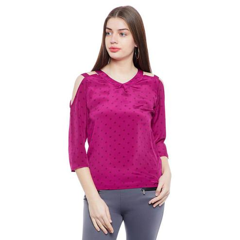 Aask - Pink Colored Casual Wear Dot Printed Crepe Top
