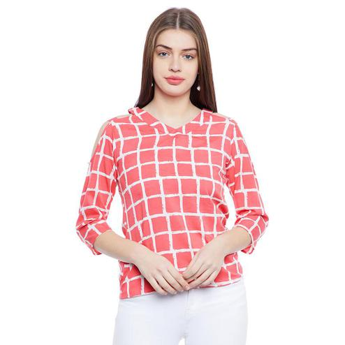 Aask - Red Colored Casual Wear Checked Printed Crepe Top