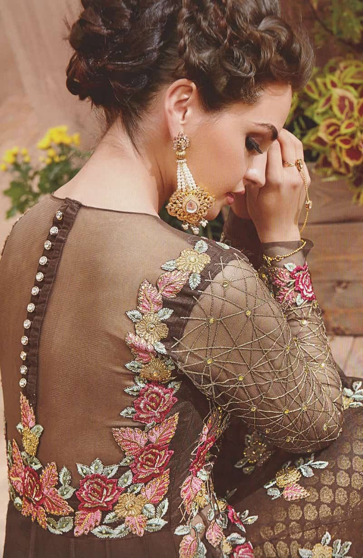 Beautiful Brown Embroidered Partywear Anarkali Suit