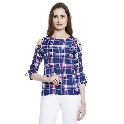 Aask - Blue Colored Casual Wear Checked Printed Crepe Top
