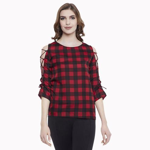 Aask - Red And Black Colored Casual Wear Checked Printed Crepe Top