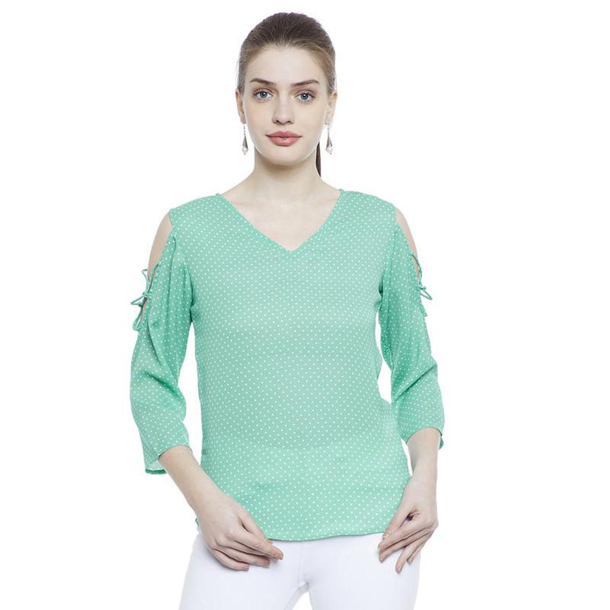 Aask - Green Colored Casual Wear Dot Printed Crepe Top