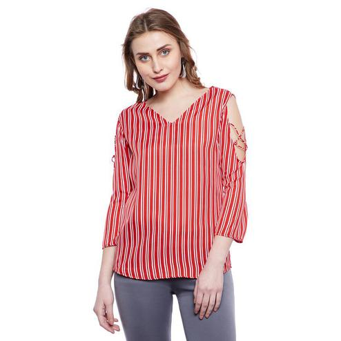 Aask - Red Colored Casual Wear Striped Printed Crepe Top