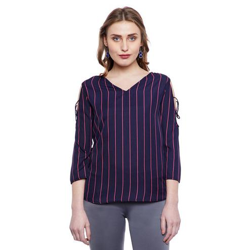 Aask - Navy Blue Colored Casual Wear Striped Printed Crepe Top