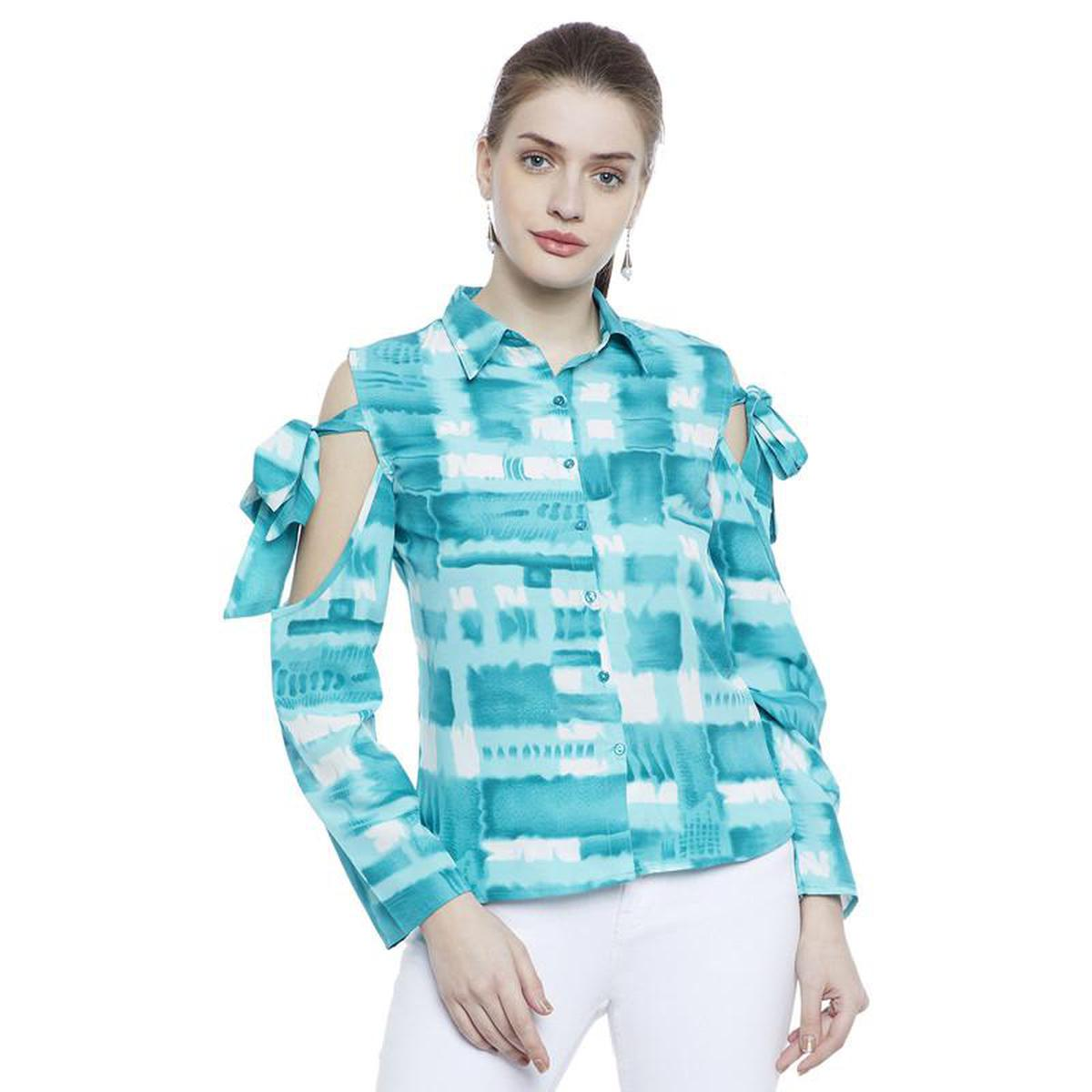 Aask - Sky Blue Colored Casual Wear Printed Crepe Shirt