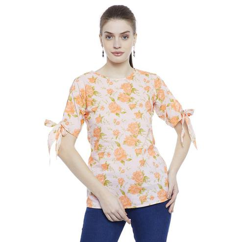 Aask - Beige Colored Casual Wear Floral Printed Cotton Top