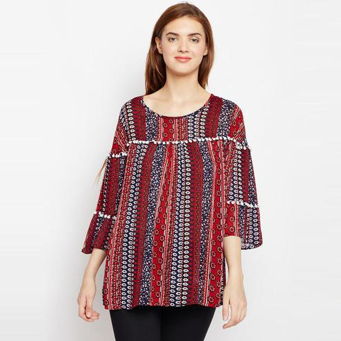 Aask - Multi Colored Casual Wear Printed Rayon Top