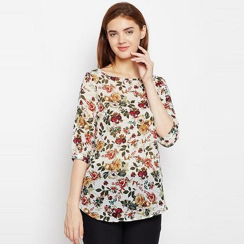 Aask - Cream And Multi Colored Casual Wear Floral Printed Polyester Top