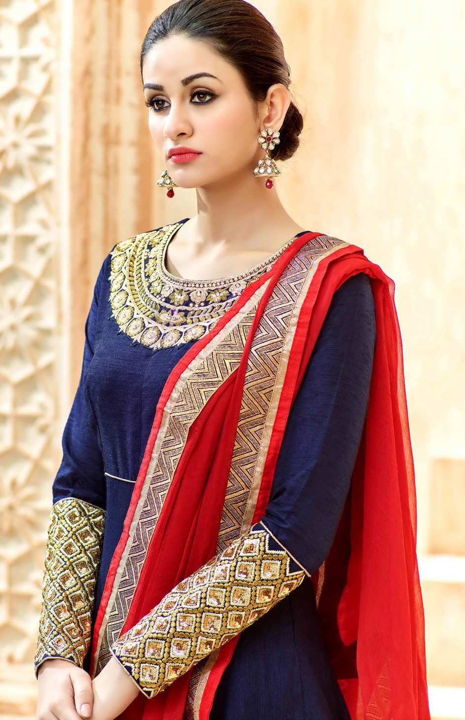 Navy Blue Wedding Wear Silk Anarkali Suit