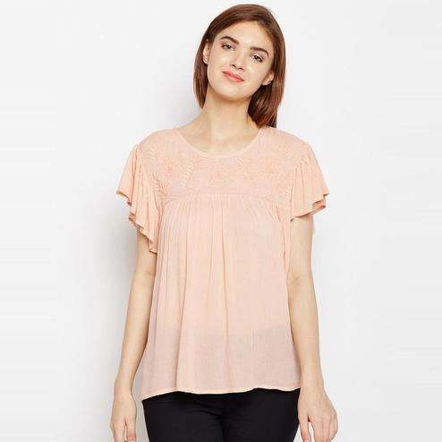 Aask - Peach Colored Casual Wear Embroidered Rayon Top