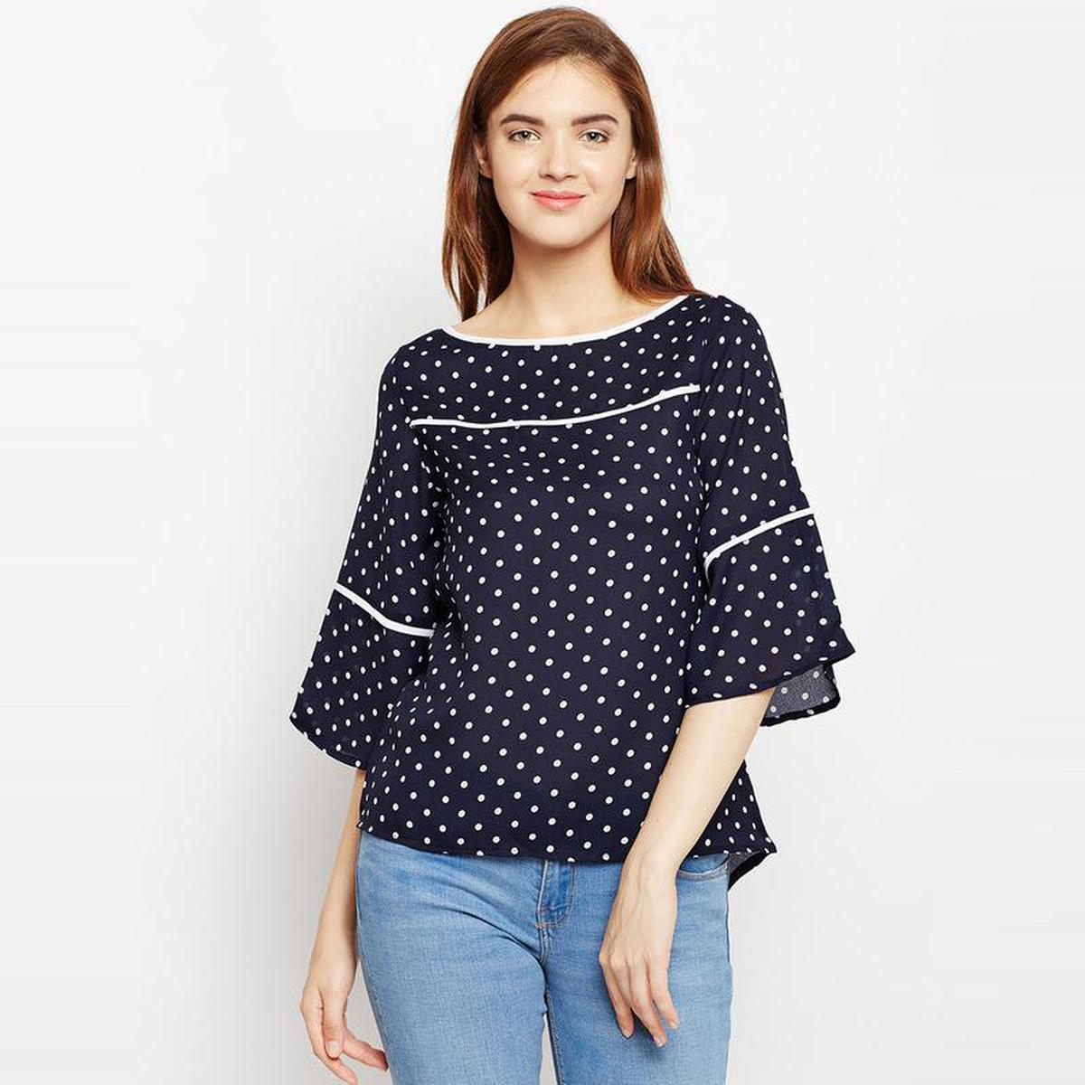 Aask - Navy Blue Colored Casual Wear Dot Printed Polyester Top