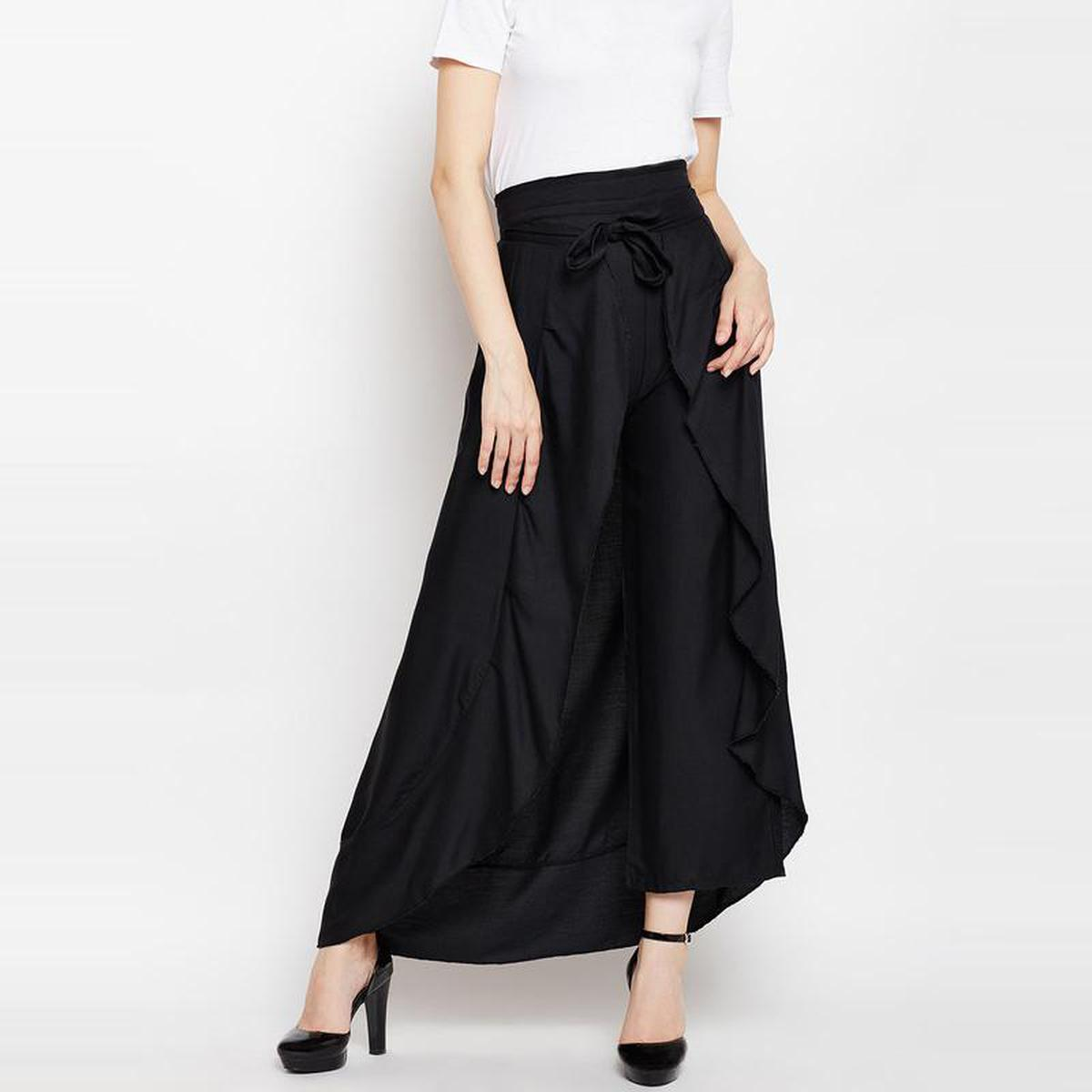 Aask - Black Colored Casual Wear Solid Rayon Ruffle Palazzo