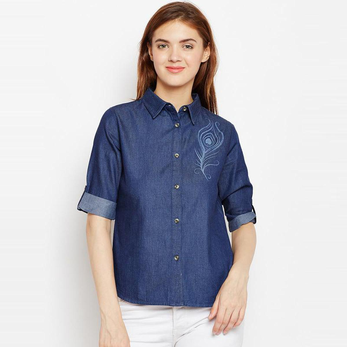 Aask - Blue Colored Casual Wear Printed Cotton Shirt