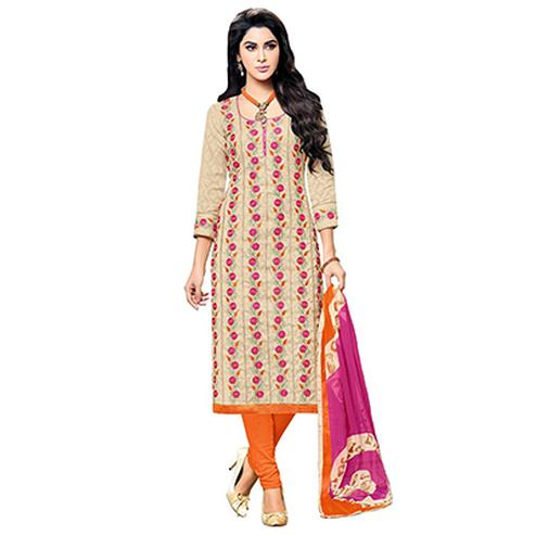 Beige - Orange Floral Embroidered Work Suit