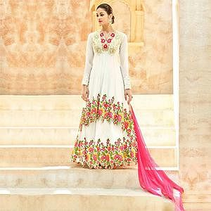 White Heavy Embroidered Work Anarkali Suit