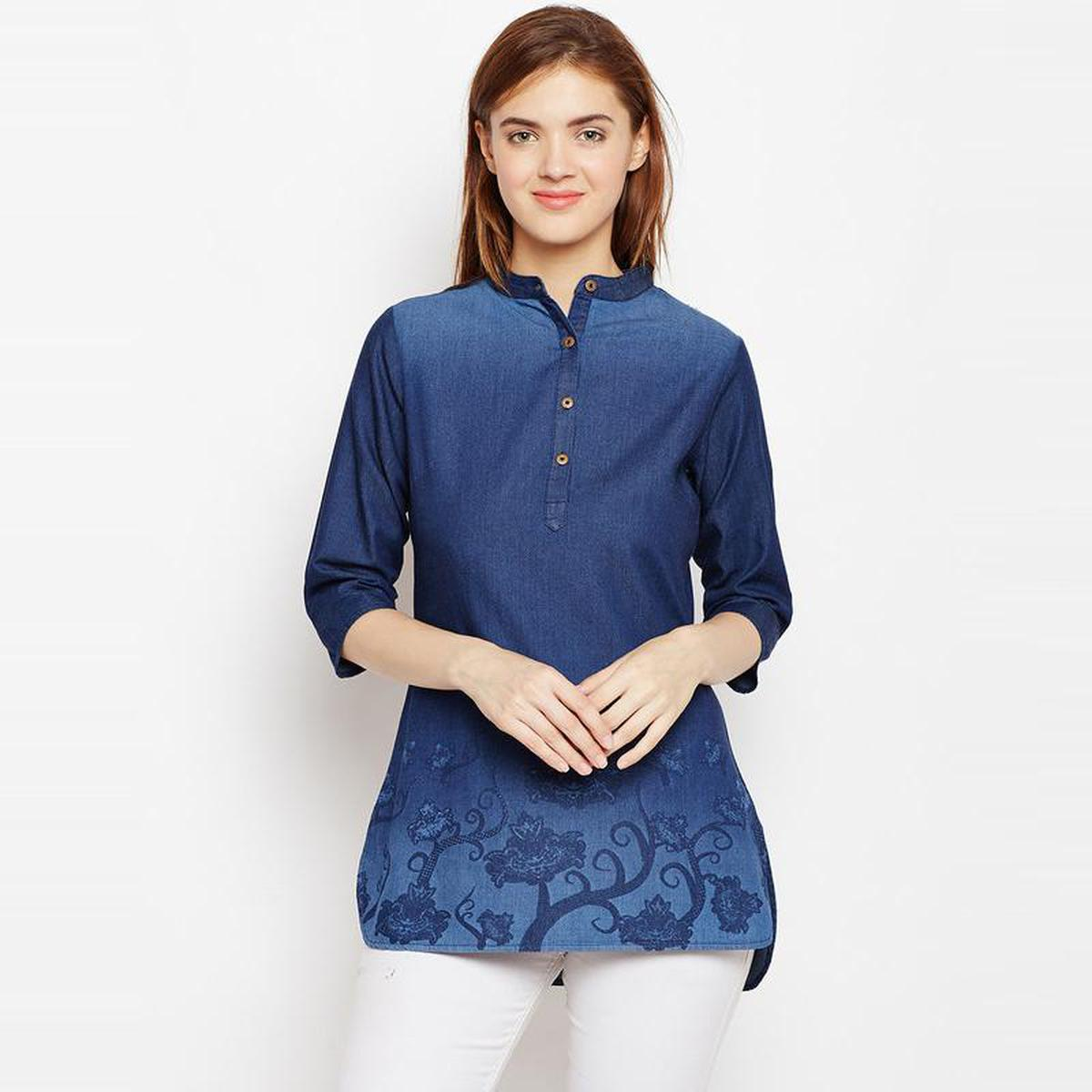 Aask - Blue Colored Casual Wear Floral Printed Cotton Tunic