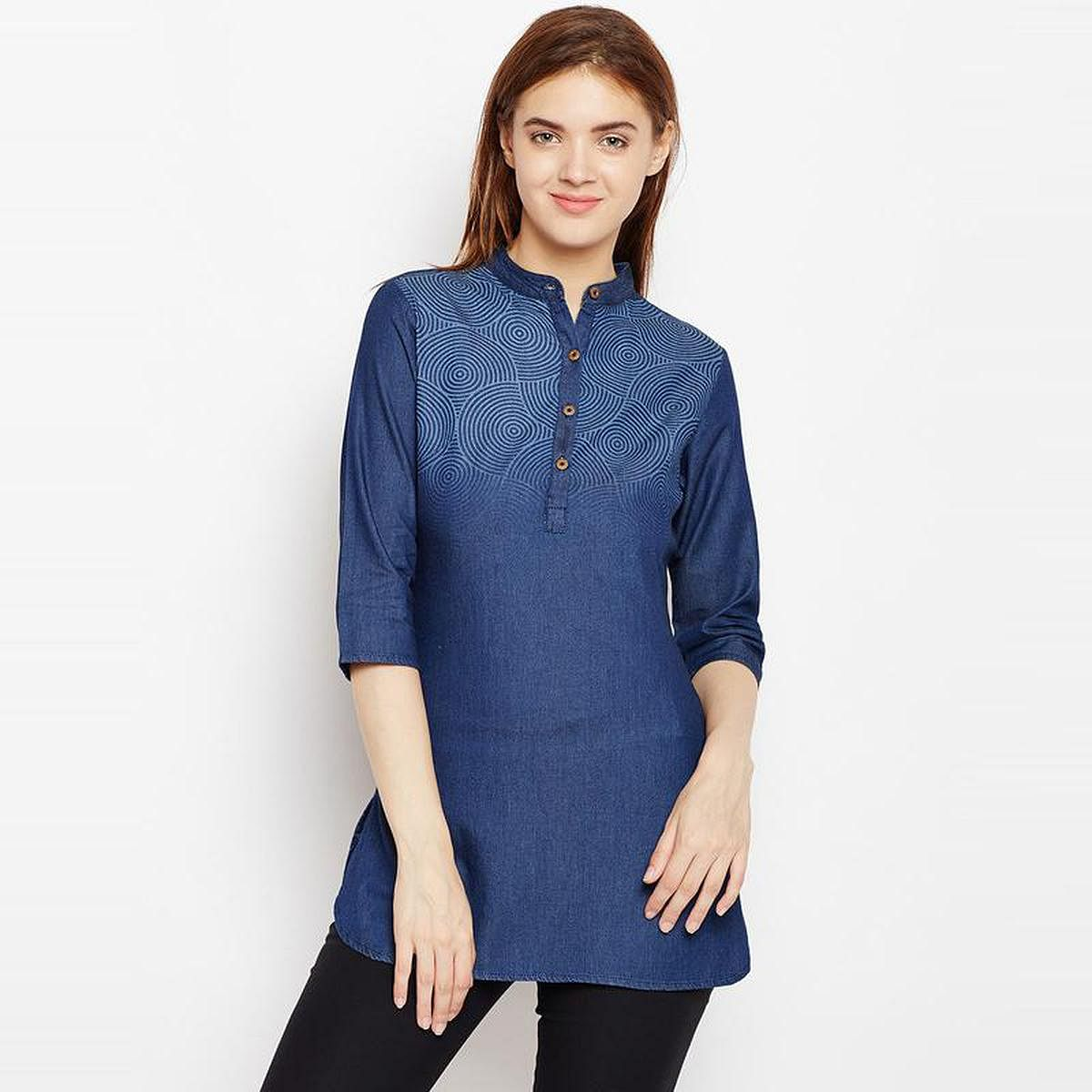 Aask - Blue Colored Casual Wear Printed Cotton Tunic