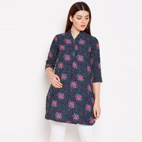 Aask - Navy Blue Colored Casual Wear Floral Printed Crepe Tunic