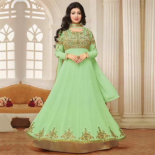 Graceful Green Embroidered Georgette Anarkali Suit