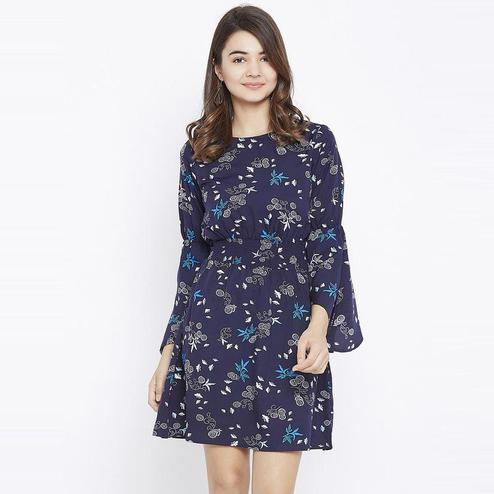 Aask - Navy Blue Colored Casual Wear Floral Printed Crepe Dress