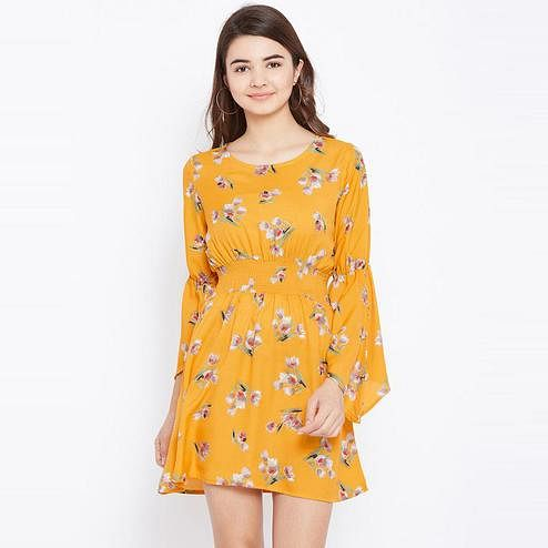 Aask - Mustard Colored Casual Wear Floral Printed Crepe Dress