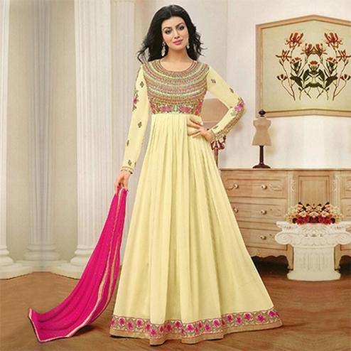 Radiant Light Yellow Color Floor Length Georgette Anarkali Suit