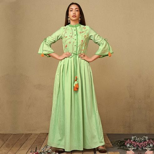 Elegant Parrot Green Colored Party Wear Embroidered Floor Length Chanderi Silk Gown
