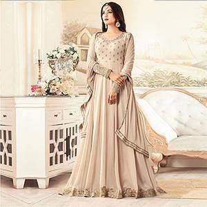 Gorgeous Beige Designer Embroidered Georgette Anarkali Suit