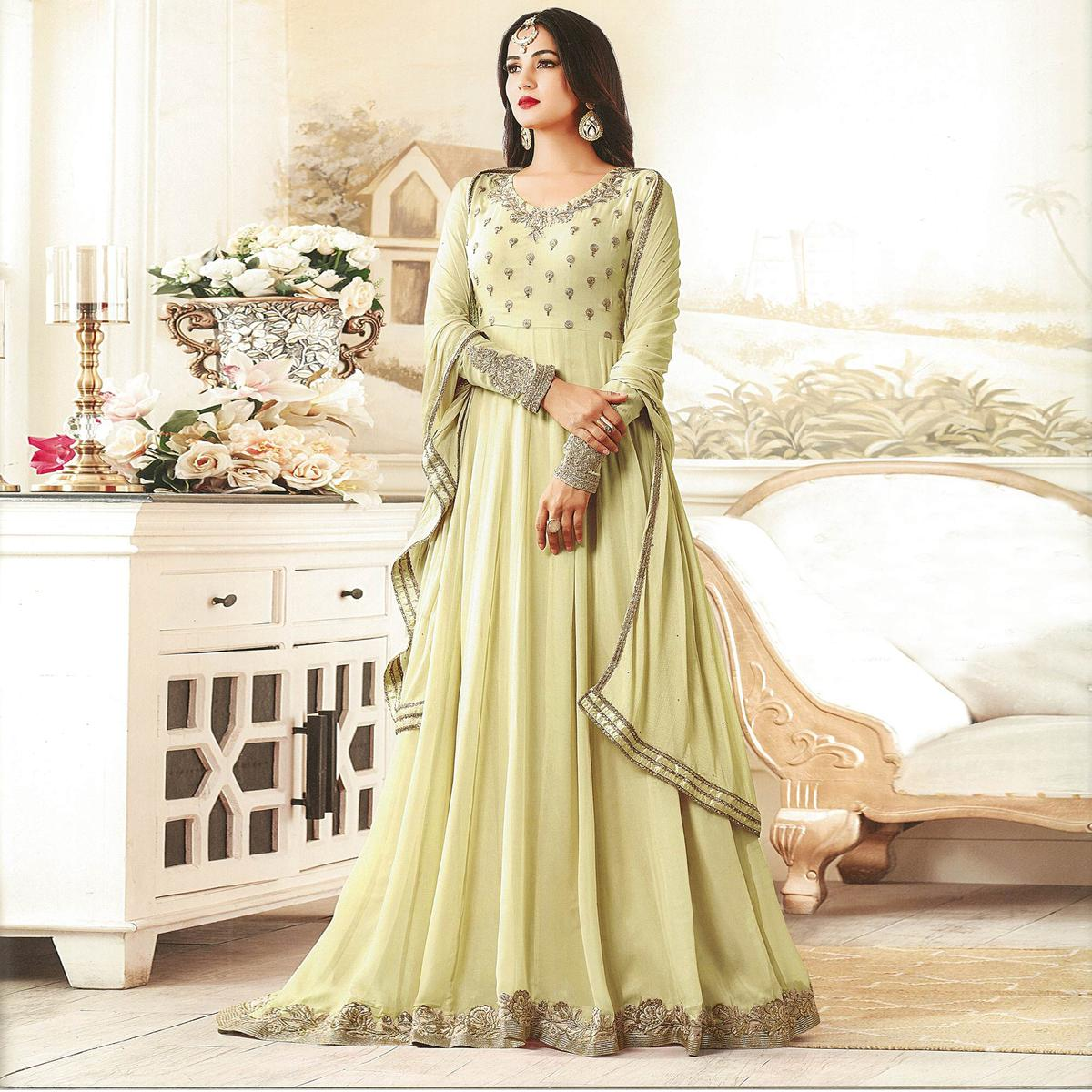 Gorgeous Green Designer Embroidered Georgette Anarkali Suit