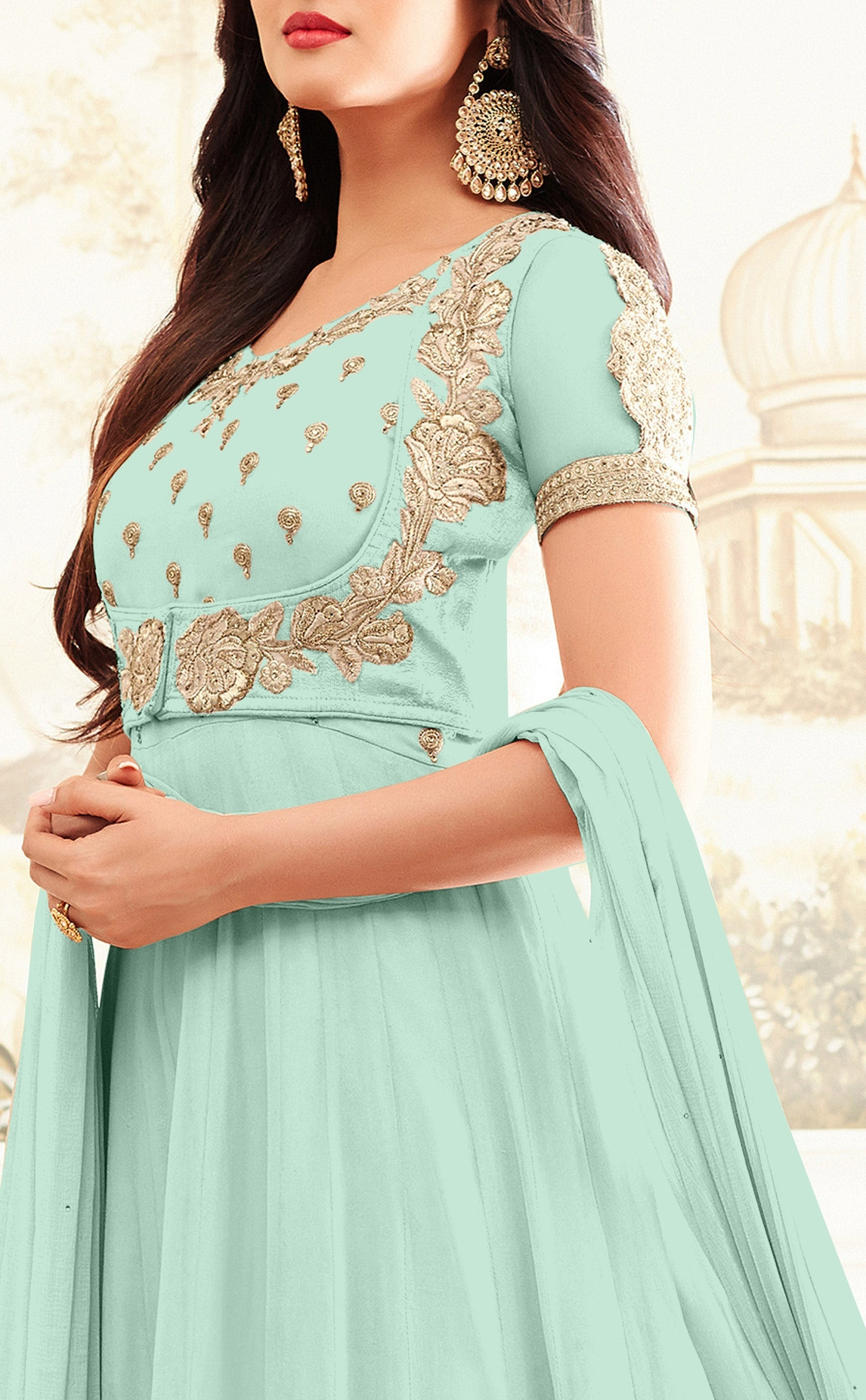 Gorgeous Sky Blue Designer Embroidered Georgette Anarkali Suit
