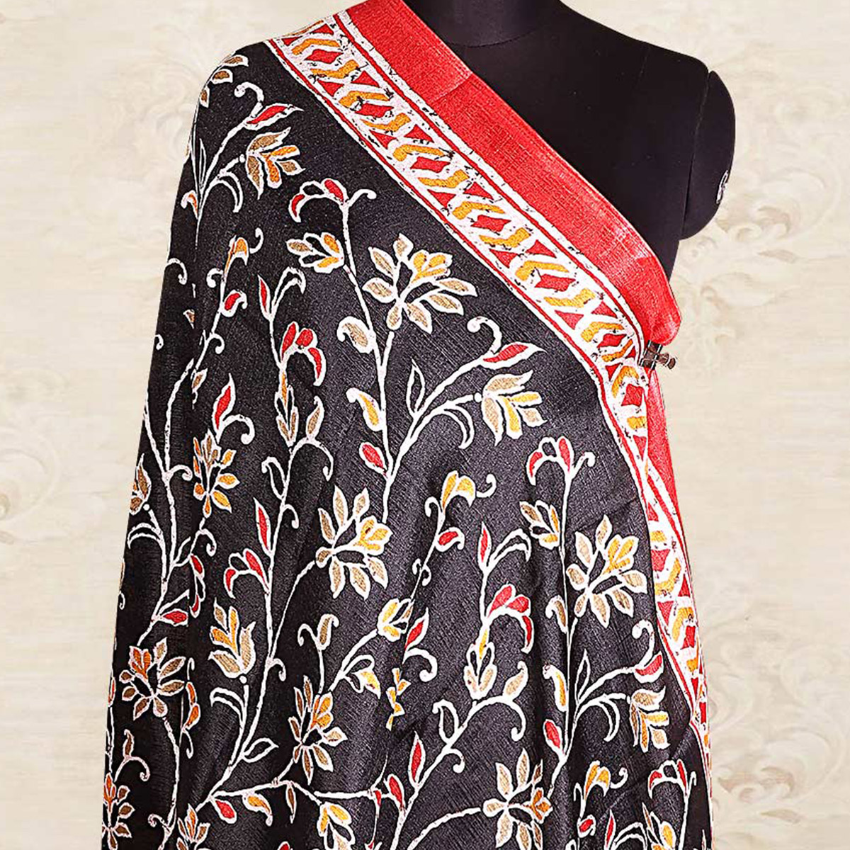 Blissful Black Colored Casual Wear Printed Cotton Blend Dupatta With Tassels