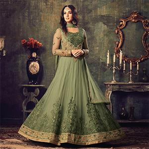 Gorgeous Green Net Designer Partywear Embroidered Anarkali Suit