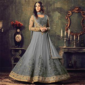 Gorgeous Grey Net Designer Partywear Embroidered Anarkali Suit