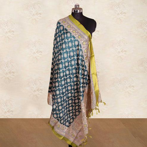 Trendy Teal Green Colored Casual Wear Printed Cotton Blend Dupatta With Tassels