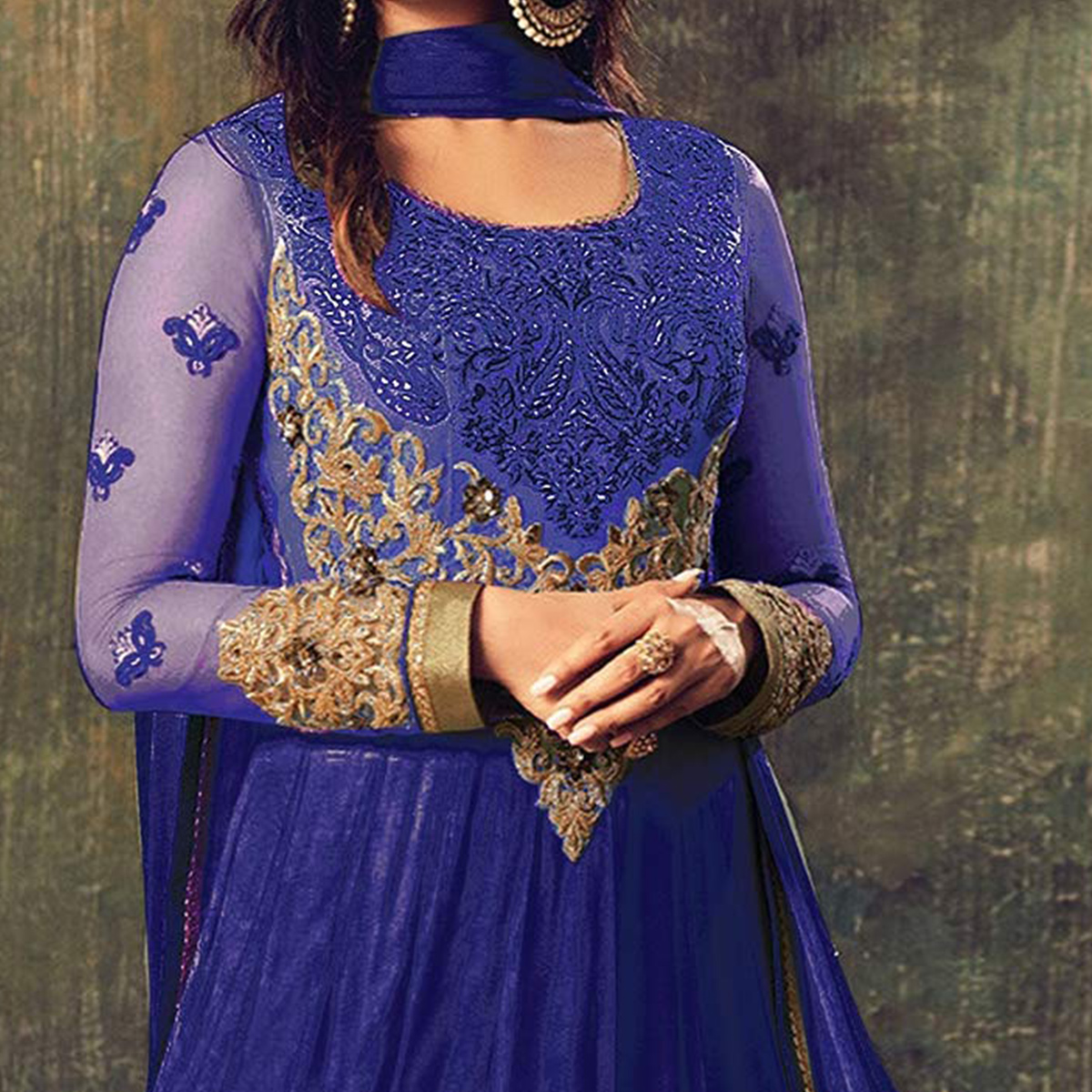Gorgeous Blue Net Designer Partywear Embroidered Anarkali Suit