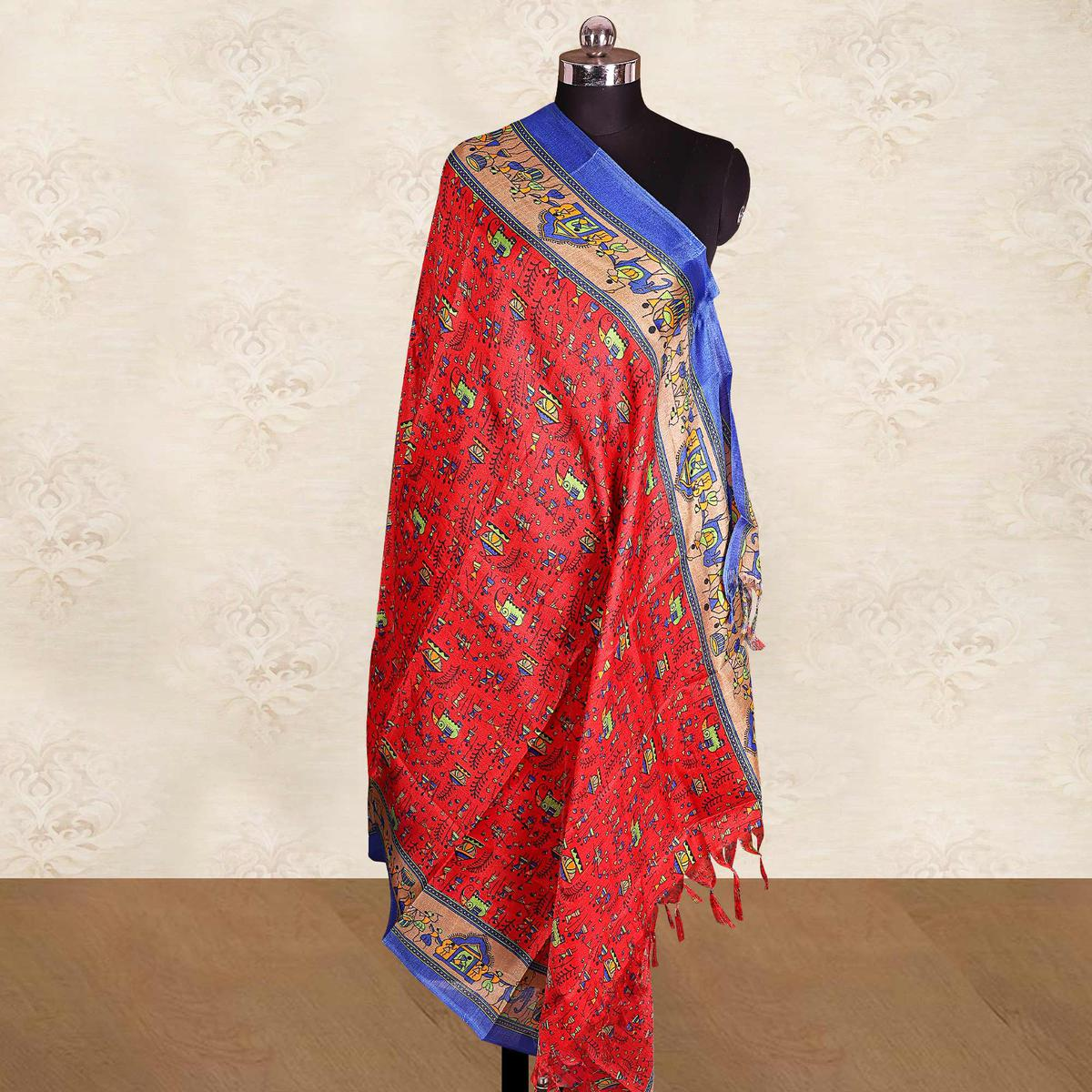 Excellent Red Colored Casual Wear Printed Cotton Blend Dupatta With Tassels