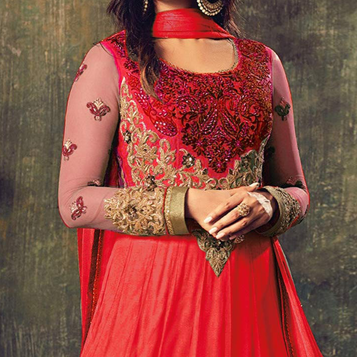 Gorgeous Red Net Designer Partywear Embroidered Anarkali Suit