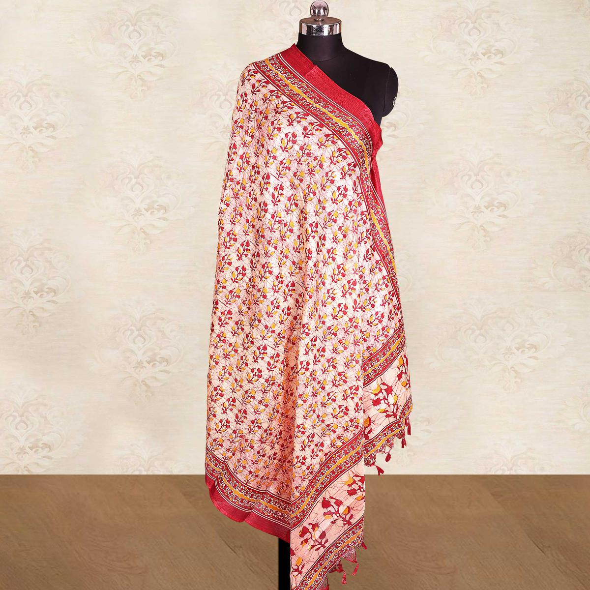 Stunning Cream-Red Colored Casual Wear Printed Cotton Blend Dupatta With Tassels