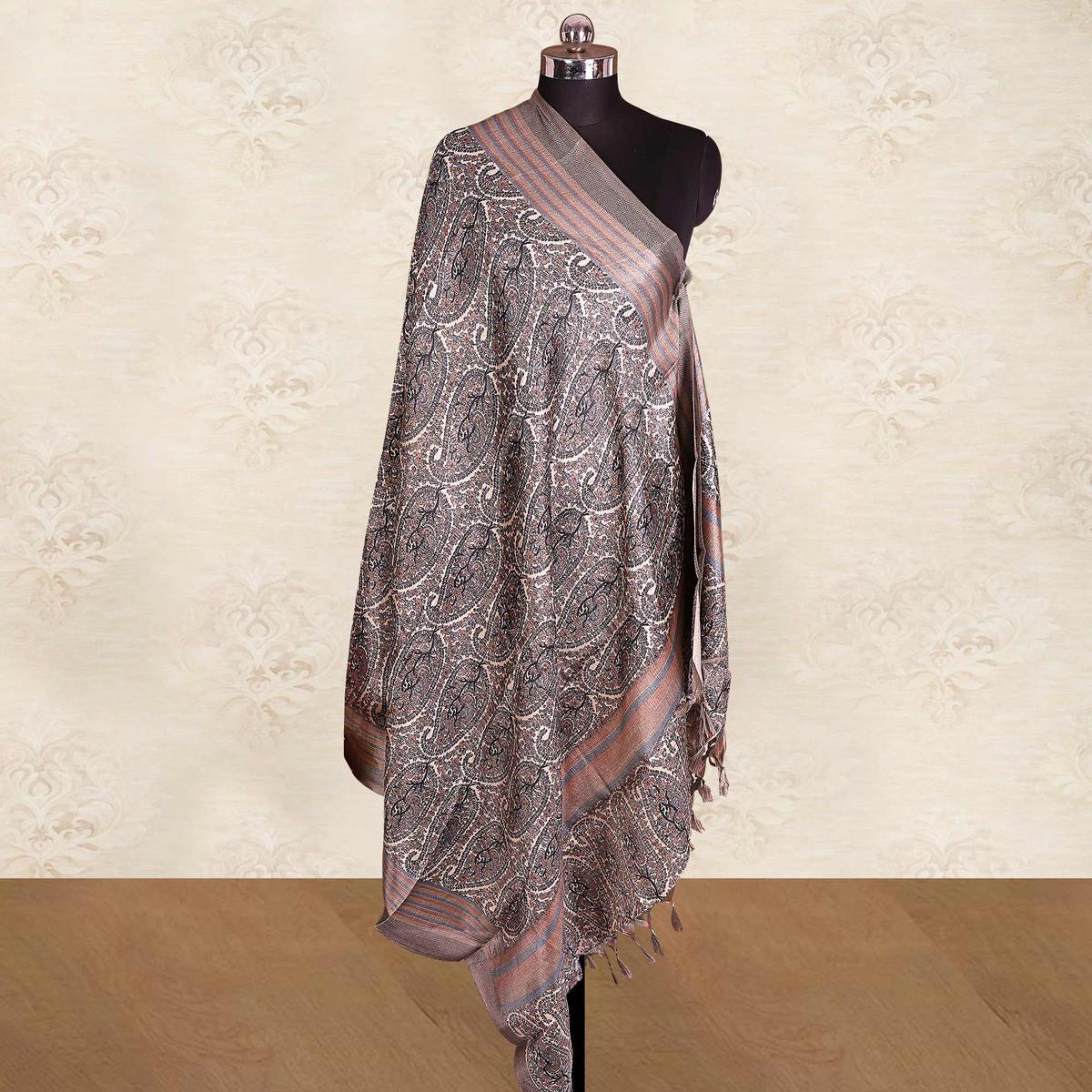 Capricious Cream-Black Colored Casual Wear Printed Cotton Blend Dupatta With Tassels