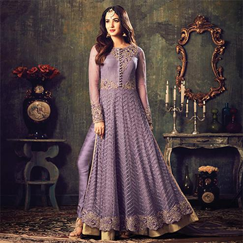 Stylish Purple Net Designer Partywear Embroidered Anarkali Suit