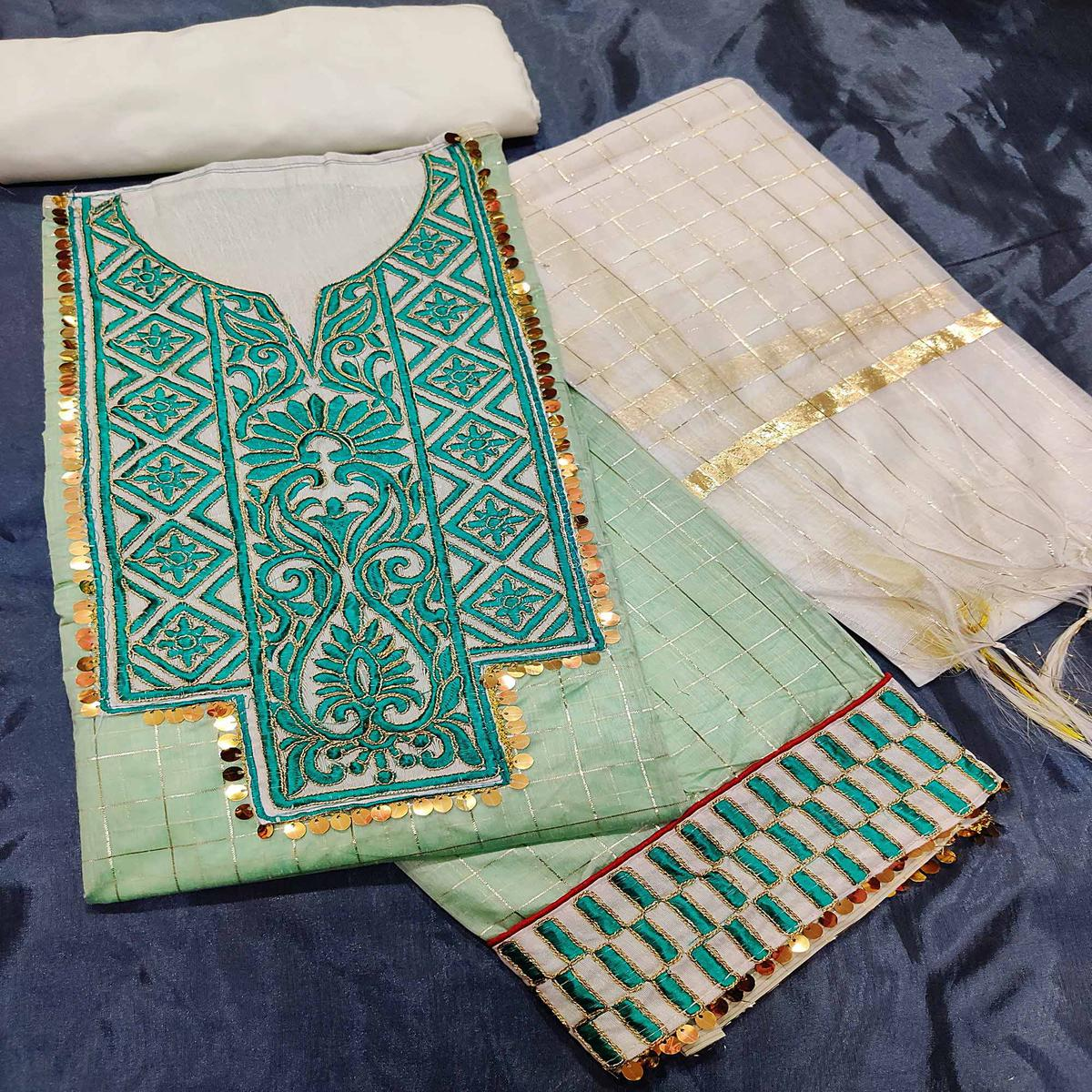 IRIS - Pastel Green Colored Partywear Embroidered Chanderi Silk Dress Material