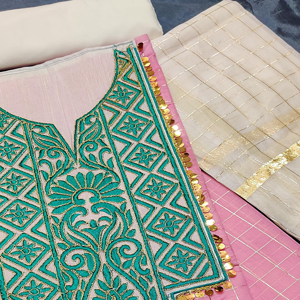 IRIS - Pink Colored Partywear Embroidered Chanderi Silk Dress Material