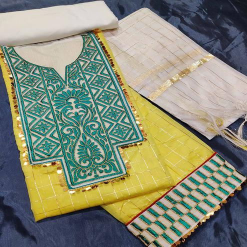 IRIS - Yellow Colored Partywear Embroidered Chanderi Silk Dress Material