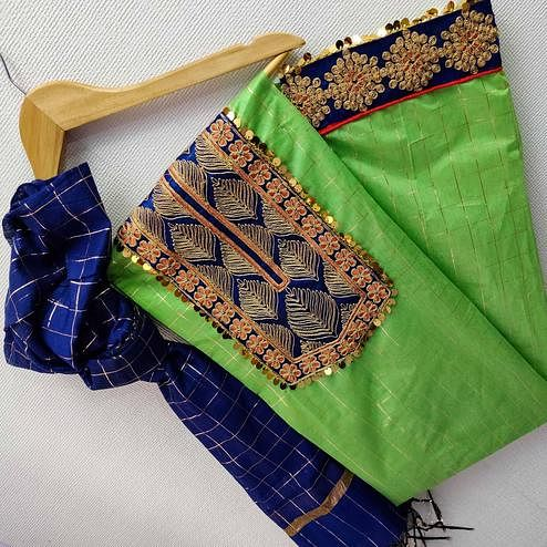 IRIS - Green Colored Partywear Embroidered Chanderi Silk Dress Material