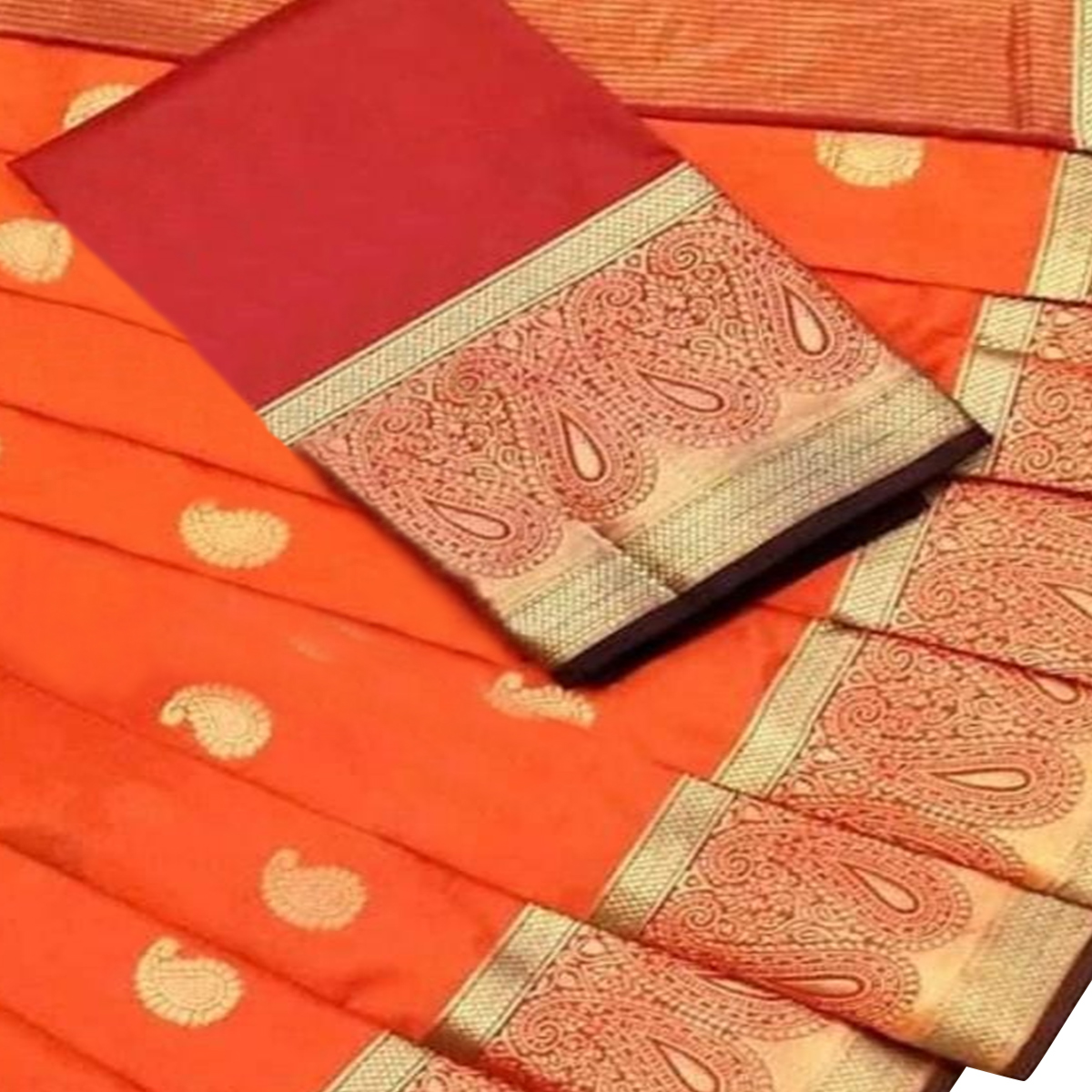 Arresting Orange Colored Festive Wear Woven Silk Saree